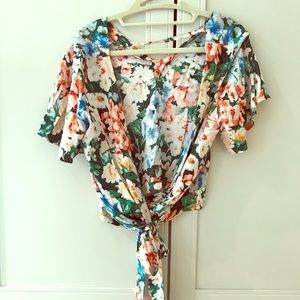 Floral wrap shirt with open back